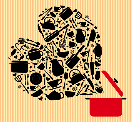 vector of various kitchenware icon in black color make in heart shape are out of from open red pot on striped light yellow and light orange background.