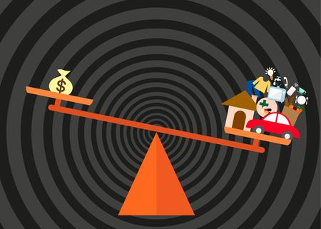 ungleichgewicht: Vektor-in-Konzept f�r das Ungleichgewicht von Einnahmen und Ausgaben