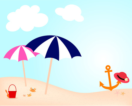 seacoast: dark blue and pink umbrella, red bucket for children play and orange anchor with red hat on the beach in summer holiday
