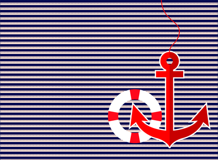horizontal line: vector of anchor and lifebuoy in red color on dark blue horizontal line and dash line background