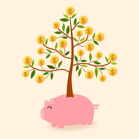 vector of pink piggy bank and grow dollar tree is in concept saving small amounts but the routine was good returns in the future Illustration