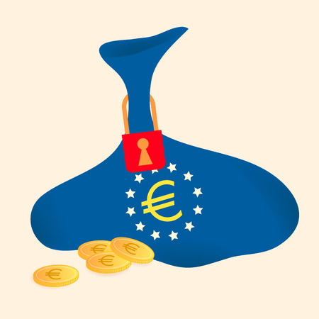 downturn: vector of bags of left less money is locked by the key. It mean the economic of Greece downturn and want to solve the problem by saving more.