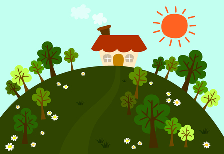 mountain view: small house on the green hills among flowers and fresh trees with a big sun in the sky