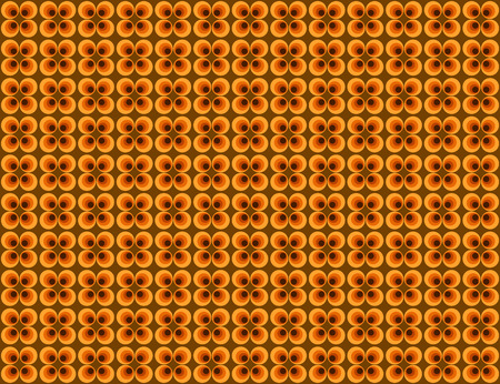 sorrel: pattern of circle shape overlay in yellow, orange and dark brown color in retro style. Illustration
