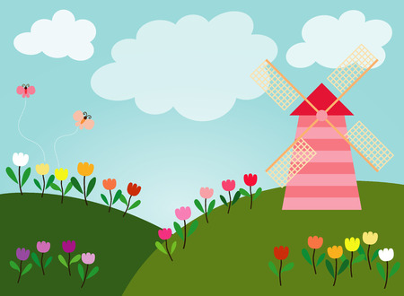verdant: Green hills are full of many colors tulips along with wind turbine and small butterfly are flying in the sky bright full of white clouds. Illustration