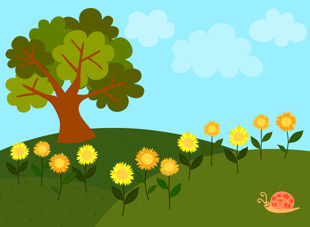 breezy: View of light blue sky with the white clouds and green hills are full of sunflower along with big tree and cute snail on grass.
