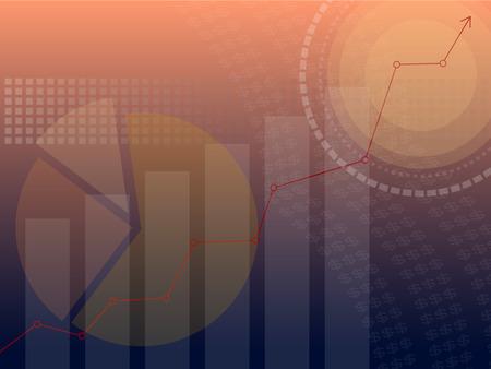 achtergrond over het bedrijfsleven of de investeringen weergegeven in staafdiagram, taartdiagram en lijngrafiek in blauwe kleur fade naar oranje kleur achtergrond met inbegrip van cirkel en vierkant kijken modern en stabiel