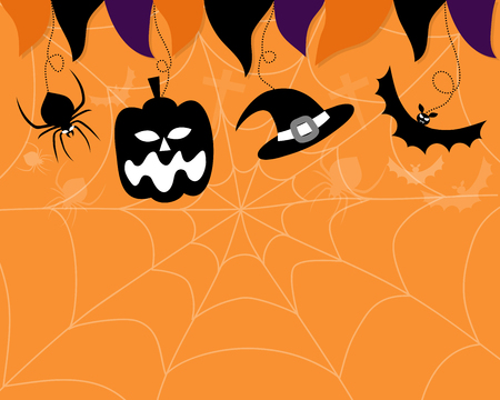 Vector celebrate halloween party. Silhouette of pumpkin, vampire bat and spider with witches hat on fade off cobweb and orange color background.