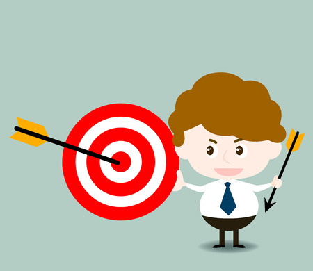 shareholder: vector of cute businessman with target and arrow in concept of successful