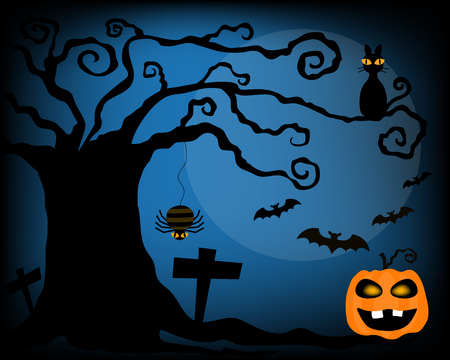 kink: Vector for celebrate halloween night including the kink tree, black cat, bat and spider are look scary and orange pumpkin in the night.