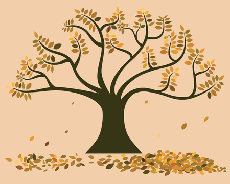 vector of big tree in autumn, leaves changed to orange, yellow and brown fallen from the trees and heap on the ground.