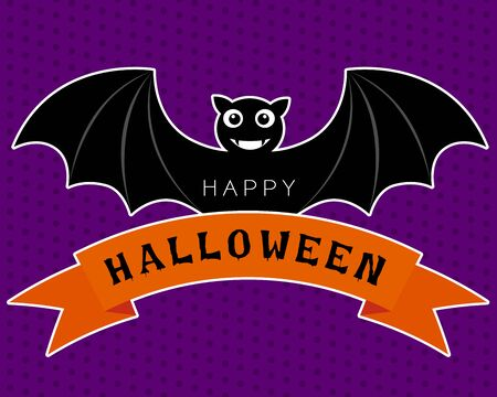 Vector of halloween bat in cute cartoon characters design is smiling and wings on the orange ribbon on a purple background.