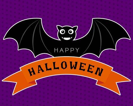 morado: Vector del palo de halloween en diseño lindo de personajes de dibujos animados está sonriendo y alas en la cinta naranja sobre un fondo morado.