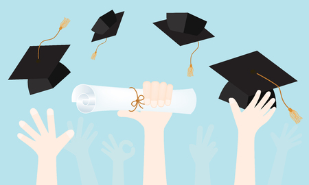 Vector of graduation ceremony including diploma in hand with a graduation cap and throw the hat into the air.