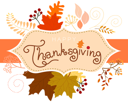 Vector of Happy Thanksgiving card, postcard, label or sticker in vintage color of various leaves look cute and sweet