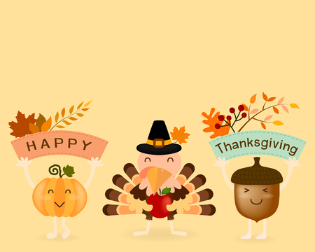 acorn: Vector of Thanksgiving card, postcard or banner, design in cartoon character of lovely turkey hold red apple with happy face pumpkin and brown acorn are hold banner in hands on yellow background. Illustration