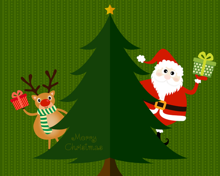 smiling man: Vector of Christmas card, postcard or banner design with cute reindeer and santa are hold a gift and stand behind the green pine tree. Illustration