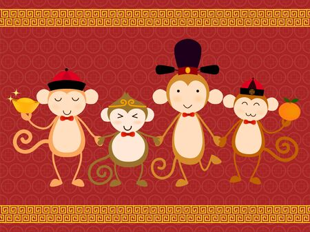 cheerful cartoon: Vector for Chinese new year card. Year of the monkey with four cute chinese character of monkeys hold gold money and orange that mean richness and lucky.