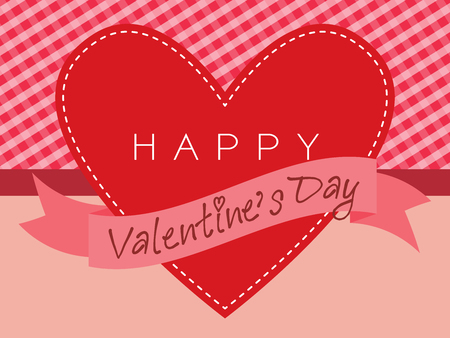 chequered ribbon: valentine card vector design with red plaid and red heart decorated with ribbon