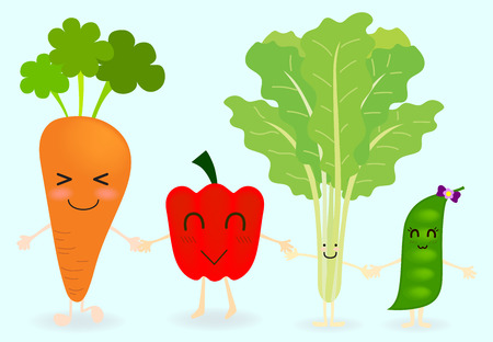 green pea: Vegetables cartoon character include carrot, bell pepper, choy and green pea are happy face