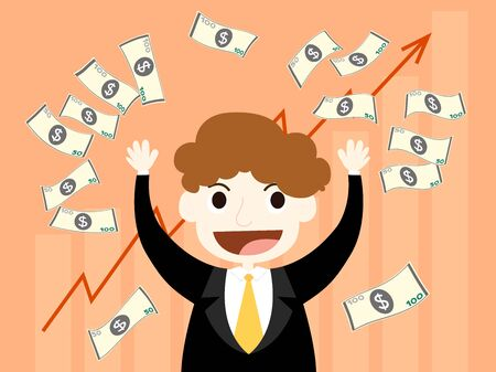 because: vector of happy businessman with more money because high profit from investing