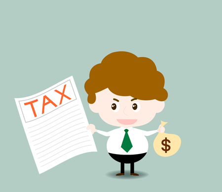income tax: Vector of businessman to pay income tax