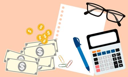 pantone: business concept including calculator; paper, pen, paperclip, eyeglasses and money in top view on light orange pantone style background Illustration