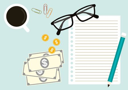 smacker: stationery including notebook, pencil, paperclip, eyeglasses and a cup of coffee with a dollar coin and banknote in concept business. In top view on light blue pantone style background