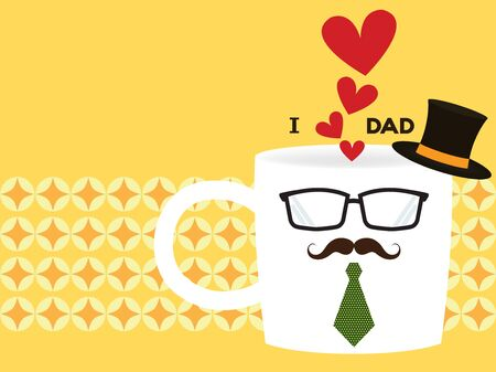 commemorate: vector of greeting cards for fathers day in hipster coffee cup including red heart symbol, hat, glasses, mustache and necktie on a bright yellow background in retro style
