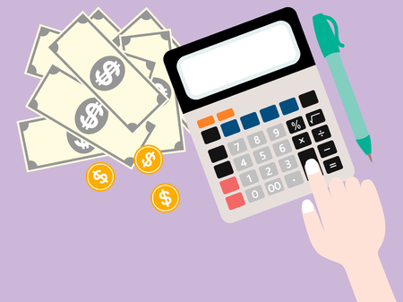 smacker: vector of business concept including hand and finger press on calculator have a money and pen in top view on purple background