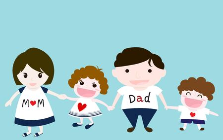 papa: Vector of happy family including father, mother, son and daughter, they have happy face. Illustration