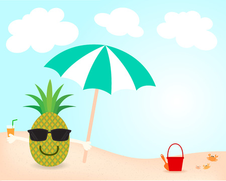 seacoast: cartoon vector of happy face pineapple and wear sunglasses and hold umbrella and orange juice on the beach in holiday summer