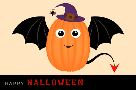 Vector card halloween character from cute pumpkin have a wing like a bat and wearing a purple witch hat