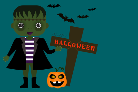 Halloween vector card in green zombie have a scarred face cartoon character with a funny pumpkin and brown crucifix on pastel green backdrop.