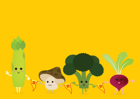 Vegetables cartoon character include asparagus, mushroom, broccoli and purple radish. Cute cartoon style.