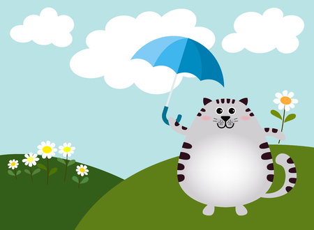 Vector of fat cat standing with umbrella and flowers in the green hill on a bright day. This is spring time and good environment.