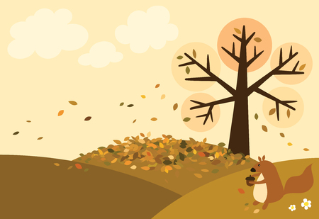 Vector of autumn view have a tree on the hills and many leaves fall on the ground with a cute squirrel is holding walnut, background is a sky with clouds.