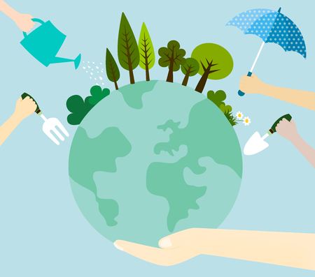 The concept of caring for the world with many hand symbol. Collaborate to plant trees to protect and care for our planet. Ilustração