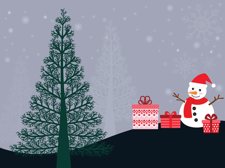 Vector snowman and lovely red gift box. On the night of Christmas, with big green pines. Illustration