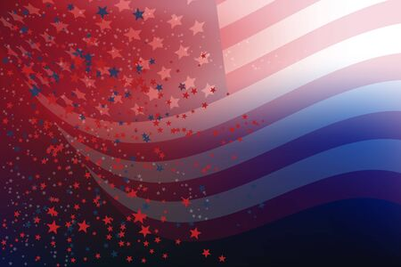 Vector illustration of the 4th of July, consisting of American flag in a faded background and the stars, red, blue, white, scattered on the background of gradient blue, white and red Ilustração