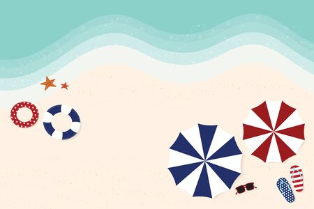 Vector of the beach on top view, with a wave and sand as the background, with blue and red umbrellas, lifebuoy, slippers and red glasses in the American flag theme. Which consists of stars and the red stripes from the national flag Ilustração