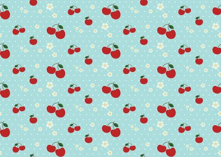 Pattern vector illustration of cherry and cherry blossum with light polka dots on light green background