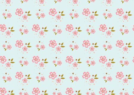 Pattern vector illustration of pink cherry blossoms with on light green background in vintage style