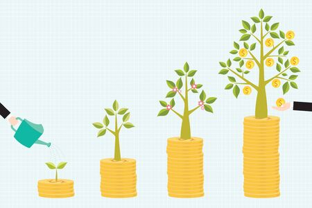 Vectors in concept of investment growth. Use stacks of gold coins arranged in ascending order. Planting trees from small, growing, flowering and fruiting can be harvested in meaning of the return. Illustration