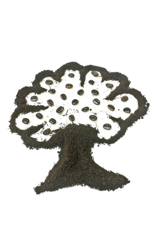 coffee grounds: Coffee grounds, tree shape. Stock Photo
