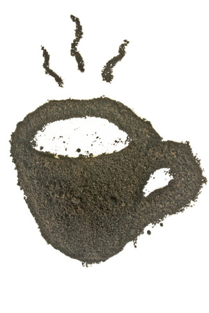 coffee grounds: Coffee grounds, coffee cup shape.