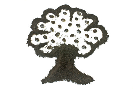 coffee grounds: Coffee grounds, tree shape