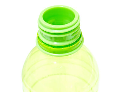 botella de plastico: verde botella de pl�stico Foto de archivo