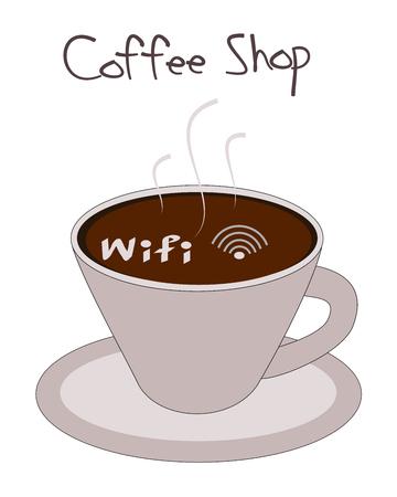 Wifi symbol in coffee cup vector Vector