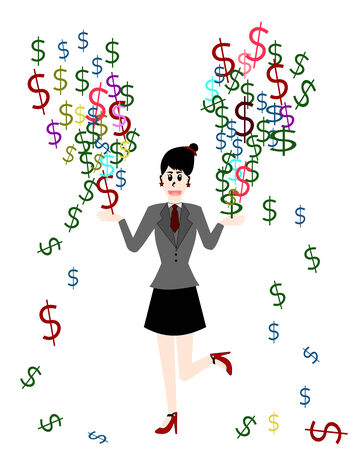 make money: Businesswoman are make money, Vector cartoon concept